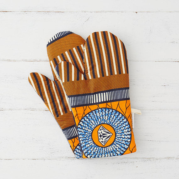 Oven mitts -  Orange and blue diamonds - Bespoke Binny