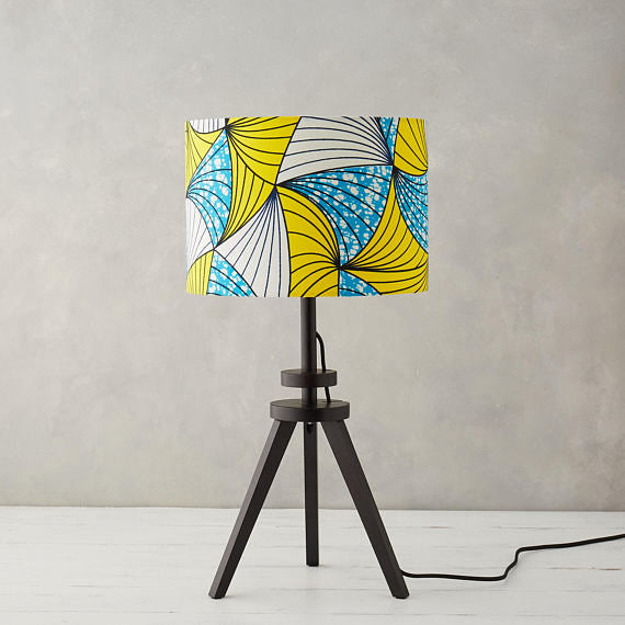 Lampshade African Wax Print - Blue and Yellow Fan - Bespoke Binny