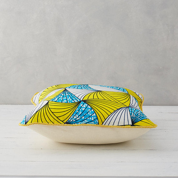 African Print Pillow - Cyan & Yellow Fan - Bespoke Binny