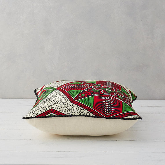 African Print Pillow - Red and Green Hexagon - Bespoke Binny