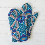 Oven Gloves - Blue Burst