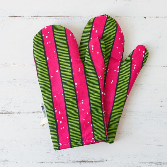 Oven gloves - Pink stripes - Bespoke Binny