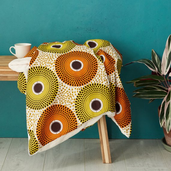 African print throw blanket - Yellow orange record
