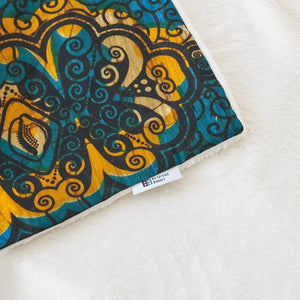 African print throw blanket -  Turquoise and gold