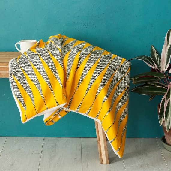 African print throw blanket -  Yellow zig zag - Bespoke Binny