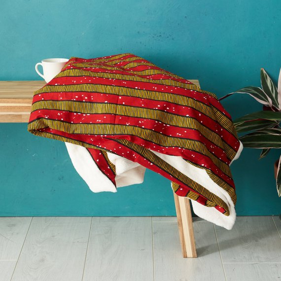 African print throw blanket - Red stripes - Bespoke Binny