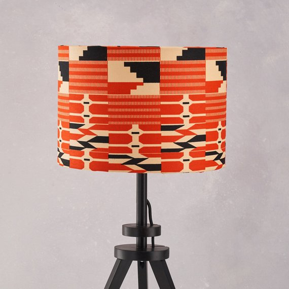 Lampshade African Wax Print -  Red black kente