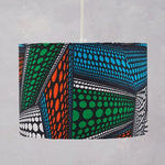 Lampshade African Wax Print  - Blue green abstract