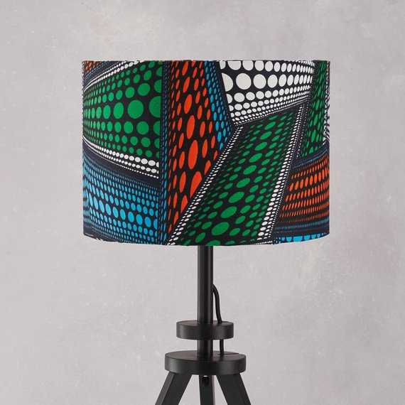 Lampshade African Wax Print  - Blue green abstract - Bespoke Binny