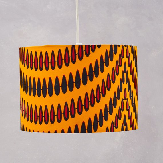 Lampshade African Wax Print  - Yellow droplets - Bespoke Binny