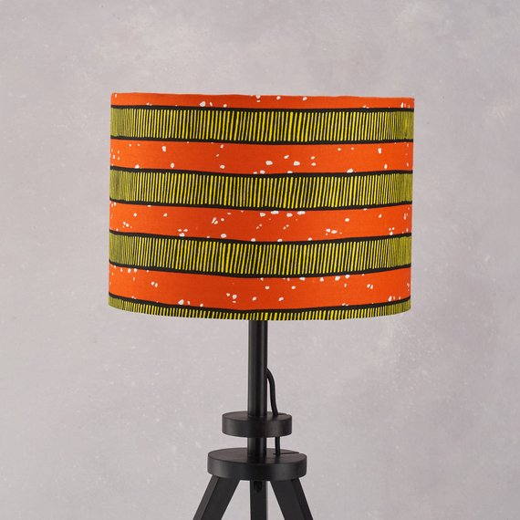 Lampshade African Wax Print -  Orange stripes