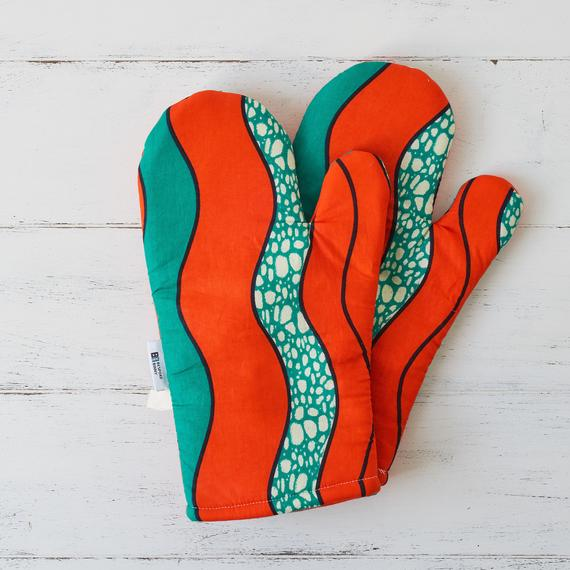 Oven gloves - Orange waves - Bespoke Binny