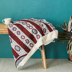 African print throw blanket -  Navy and red abstract