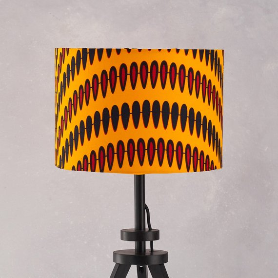 Lampshade African Wax Print  - Yellow droplets