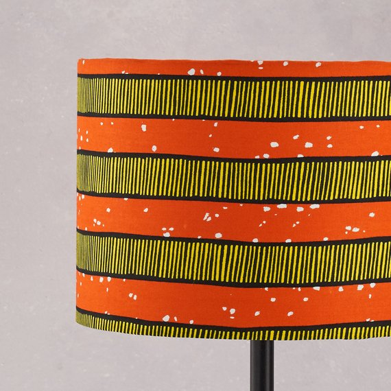 Lampshade African Wax Print -  Orange stripes - Bespoke Binny