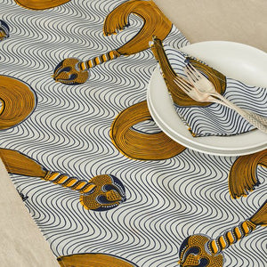 African Print Table Runner - Navy and Yellow whip - Bespoke Binny
