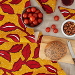 African Print Table Runner - Yellow and red floral - Bespoke Binny