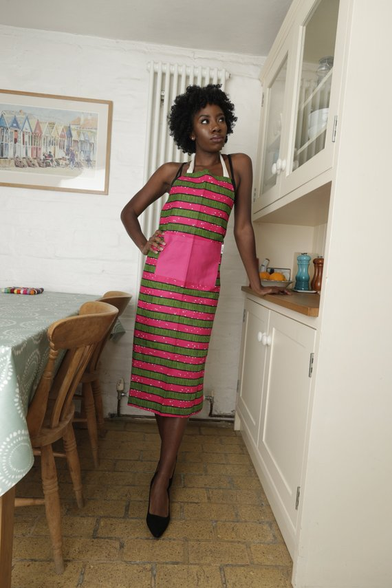 African print apron - Pink stripes