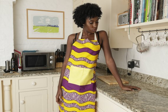 African print apron - Purple Waves