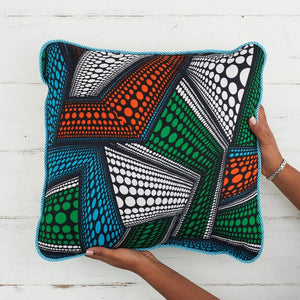 African Print Pillow - Blue green abstract