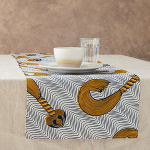 African Print Table Runner - Navy and Yellow whip
