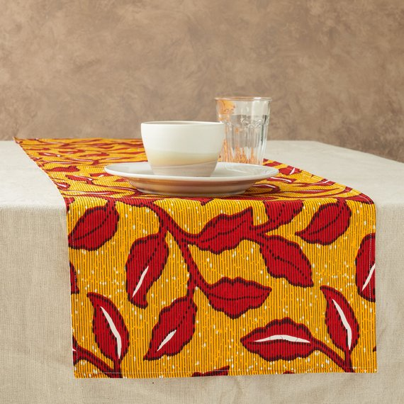 African Print Table Runner - Yellow and red floral