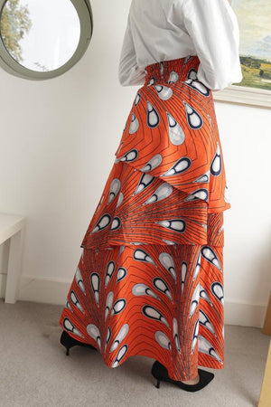 African maxi skirt -Yaayaa Layered maxi  - Orange - Bespoke Binny