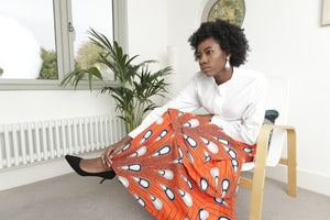 African maxi skirt -Yaayaa Layered maxi  - Orange