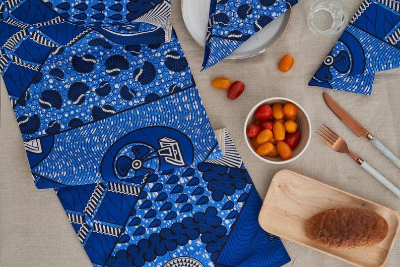 African Print Table Runner - Blue cowrie