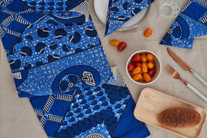 African Print Table Runner - Blue cowrie - Bespoke Binny