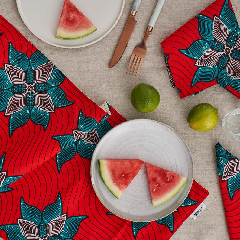 African Print Table Runner - Red Marine