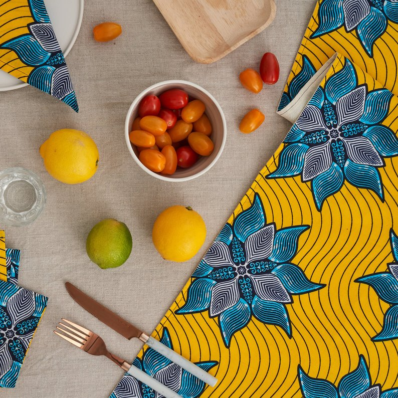 African Print Table Runner - Yellow Marine - Bespoke Binny