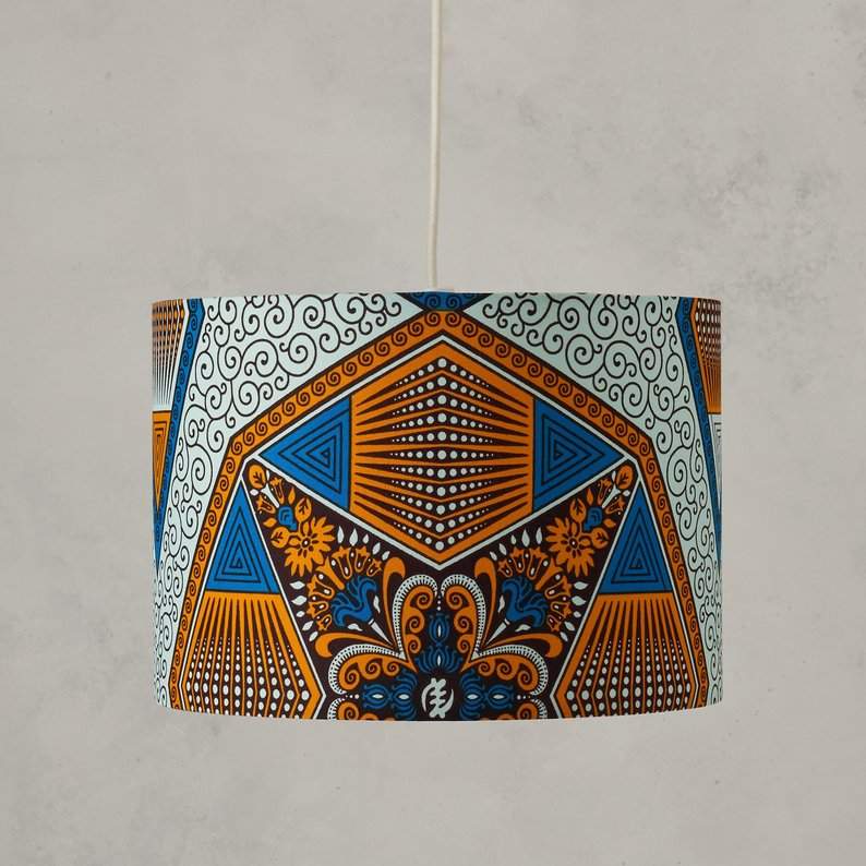 Lampshade - Blue Hexagon