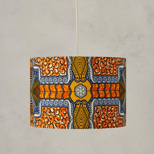 Lampshade African Wax Print  - Orange Blue squares - Bespoke Binny