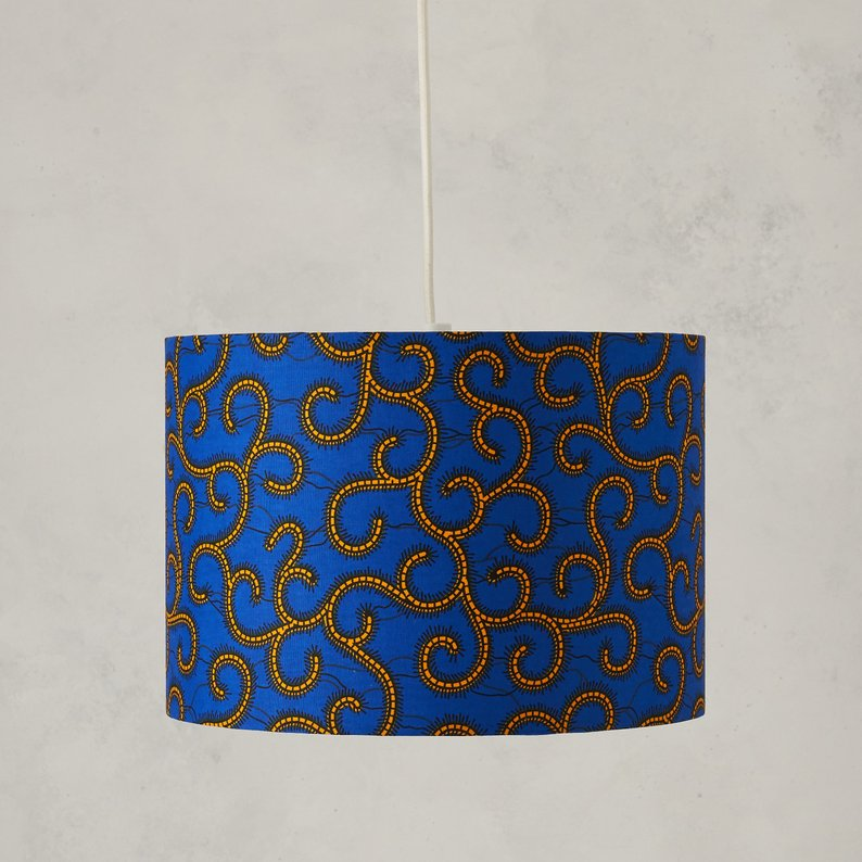 Lampshade African Wax Print - Blue swirls