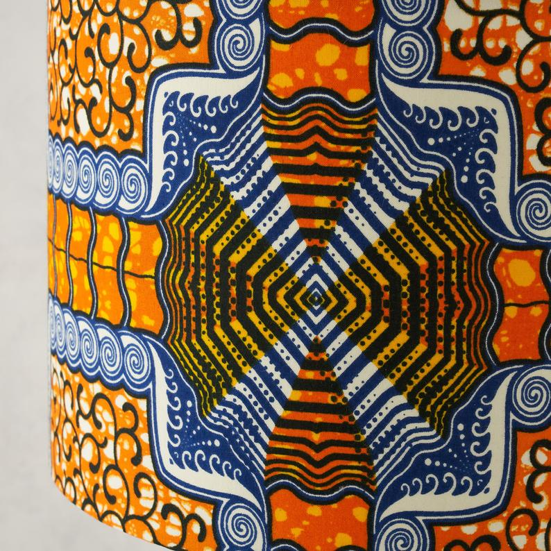 Lampshade African Wax Print  - Orange Blue squares