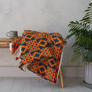 Throw Blanket - Black yellow Kente - Bespoke Binny