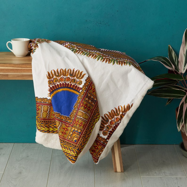 Throw blanket -  White Dashiki - Bespoke Binny