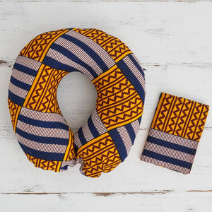 Travel pillow - blue yellow kente print - Bespoke Binny