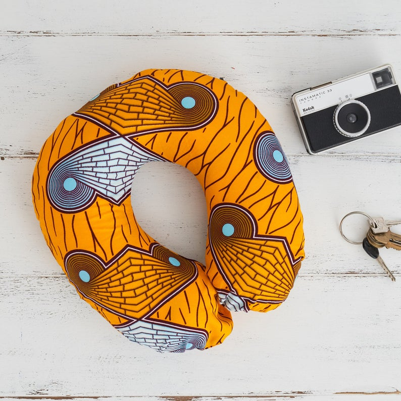 Travel pillow - yellow cyan butterfly - Bespoke Binny