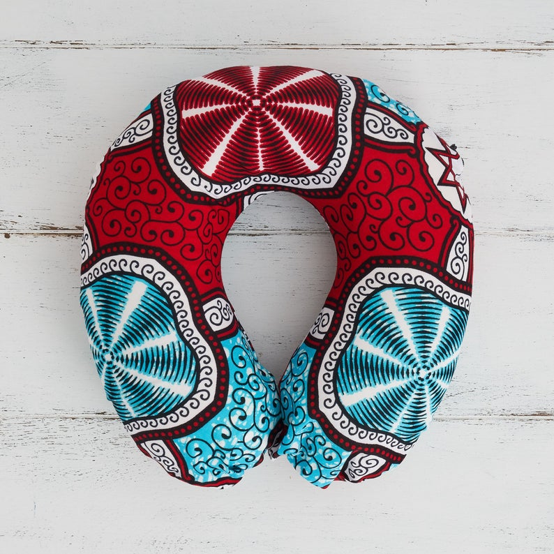 Travel pillow - Red Marine print fabric - Bespoke Binny