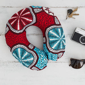 Travel pillow - Red Marine print fabric