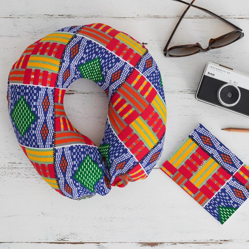 Travel pillow - multi coloured Kente - Bespoke Binny