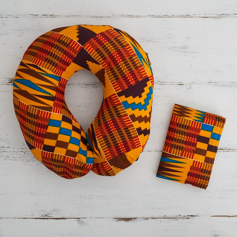 Travel pillow- Red brown Kente fabric - Bespoke Binny
