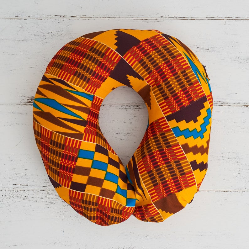 Travel pillow- Red brown Kente fabric