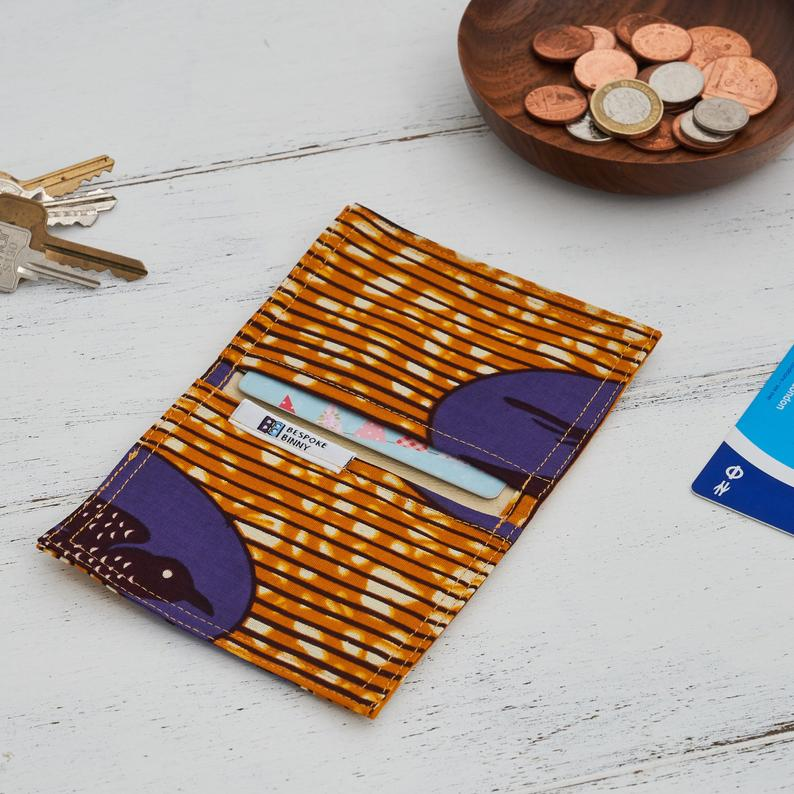 Card holder African print - Purple gold speed bird