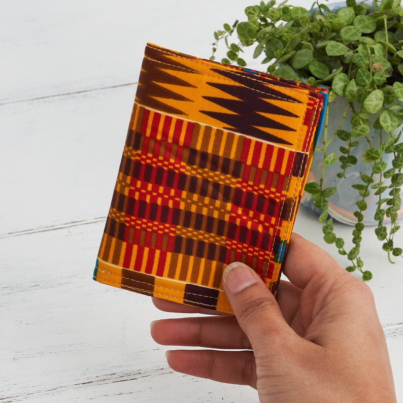 Card holder African print - Red brown Kente