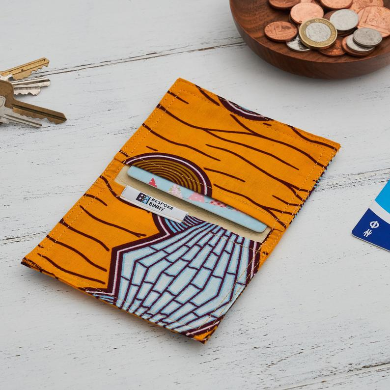 Card holder African print - Yellow cyan butterfly