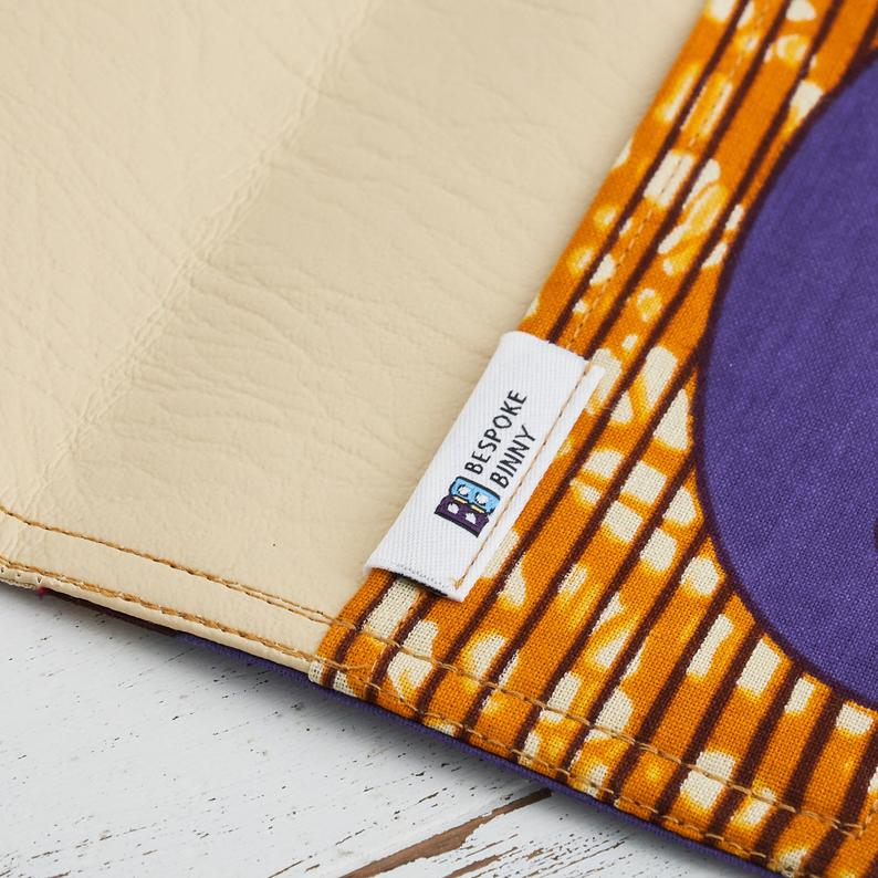 African Print Passport Holder - Purple gold speed bird