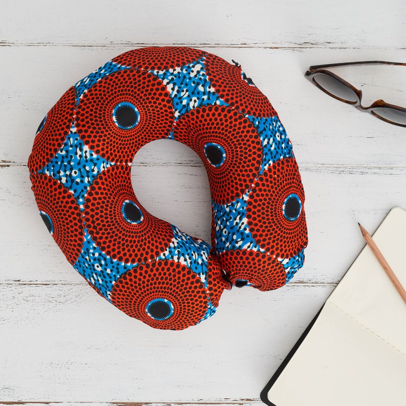 Travel pillow - red blue record print